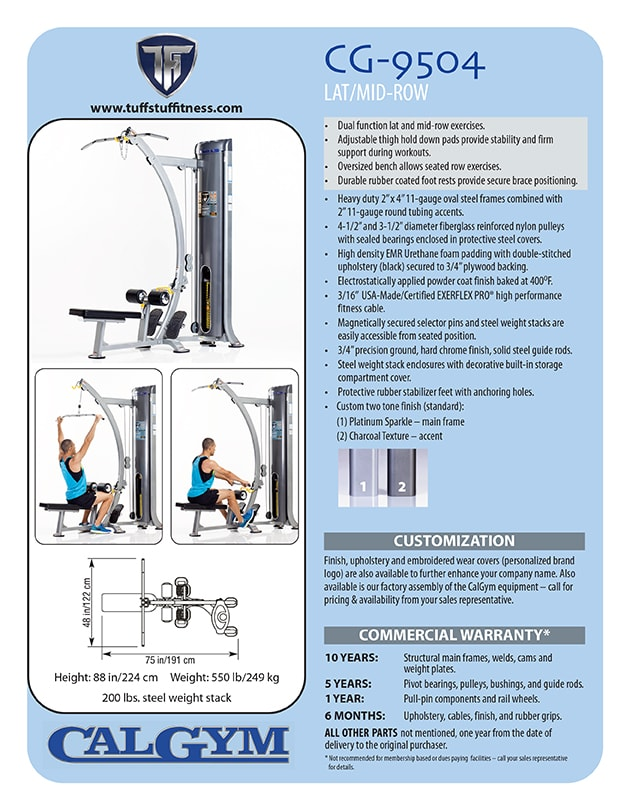 Spec Sheet: TuffStuff CalGym Lat / Mid Row (CG-9504)