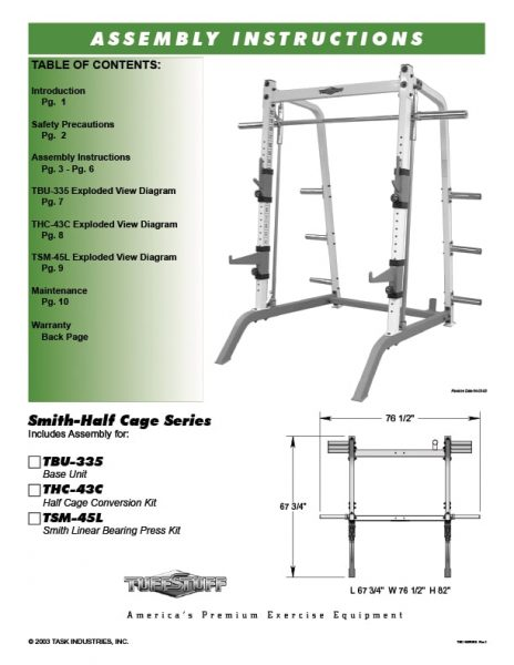 TuffStuff (TBU-335) Smith Half Cage Owner's Manual