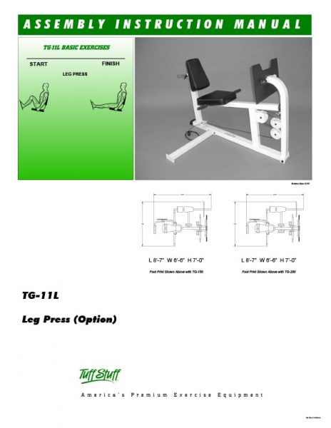 TuffStuff TG-11L Leg Press Owner's Manual
