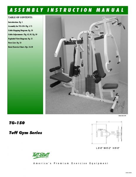 TuffStuff Tuff Gym Series (TG-150) Owner's Manual