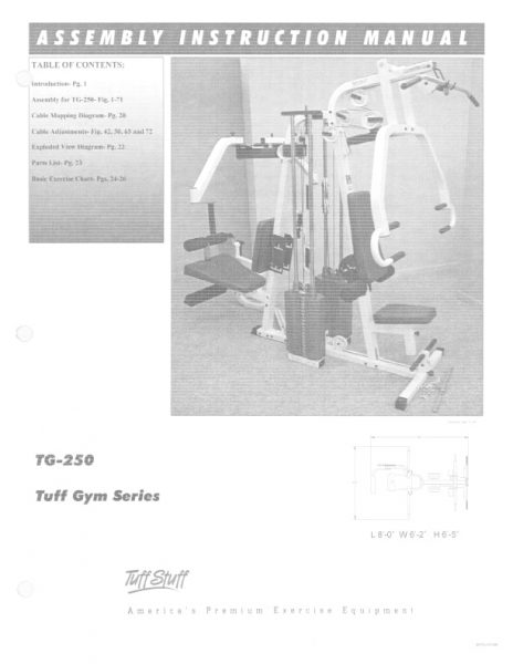 TuffStuff Tuff Gym Series (TG-250) Owner's Manual