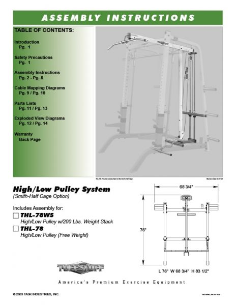 TuffStuff (THL-78) High Low Pulley Owner's Manual