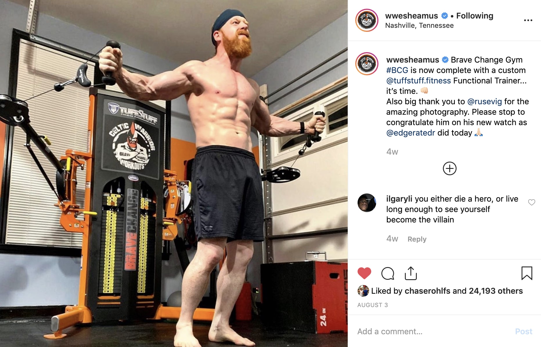 WWE Sheamus on Instagram - Brave Change Gym Functional Trainer