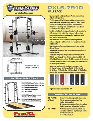 Spec Sheet - TuffStuff PRO-XL Half Rack (PXLS-7910)