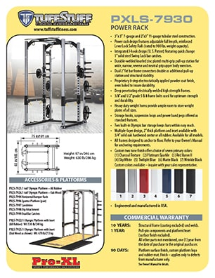 Spec Sheet - TuffStuff PRO-XL Power Rack (PXLS-7930)