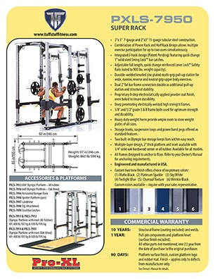 Spec Sheet - TuffStuff PRO-XL Super Rack (PXLS-7950)